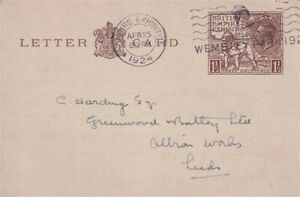 23 APRIL 1924 1 1/2d WEMBLEY EXHIBITION LETTER CARD WEMBLEY PARK CANCEL FDI