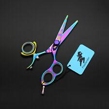 "5.5"" Rainbow Swivel Thumb Shears Japan 440C Barber Salon Hair Cutting Scissors"