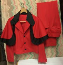 retro Red 3 pc Men Suit with Cape Elvis style Very Bell Bottom Pants Rockabilly