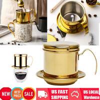 Golden Stainless Steel Vietnamese Coffee Drip Filter Maker Infuser Set Home