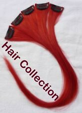 "18"" Red Human Hair Clip on in Extensions for Highlights"