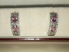 Beautiful 14K White Gold Diamond and Pink Sapphire Earrings Half Hoop