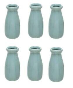 Blue Ceramic Vases -  Milk Bottles Pack of 6  (6.5 cms wide x14 cms high)