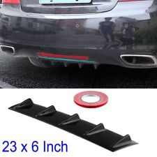 """Shark Fin 5 Wing Lip Diffuser 23"""" x6"""" Rear Bumper Chassis Black ABS  Universal"""