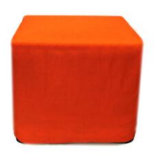 "18"" Square Pouf Cover Orange Pouf Ottoman Decorative Cotton Foot Stool Covers"
