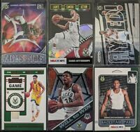 Lot of (6) Giannis Antetokounmpo, Including Hoops Holo, Prizm & other inserts