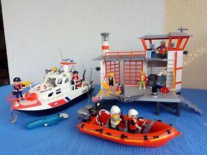 Playmobil 5539 Küstenwachstation mit Leuchtturm + 4448 Küstenwachboot mit Motor