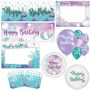 Mermaid Happy Birthday Under The Sea Children's Decorations Table Party Supplies