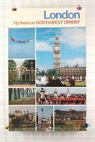 Vintage NORTHWEST ORIENT AIRLINES LONDON Flight Travel Poster 25X40