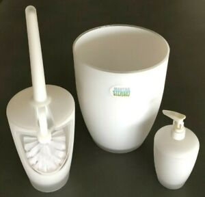 NEW~MARTHA STEWART Set 3 White Plastic Bathroom Accessories Basket Soap Toilet