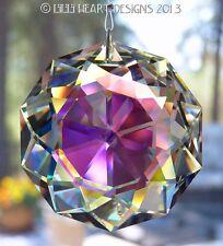 "Swarovski Suncatcher Aurora Borealis  2"" 50mm Dahlia Flower Lilli Heart Designs"