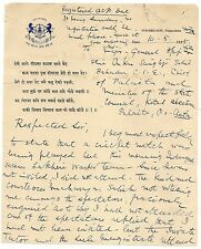 India 1925 letter about a cricket match in Indergarh State - FAULTS