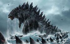 "Godzilla 2014 Movie Fabric poster 40"" x 24"" Decor 03"