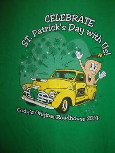 Codys Original Roadhouse green graphic St Patricks Day L t shirt 2014