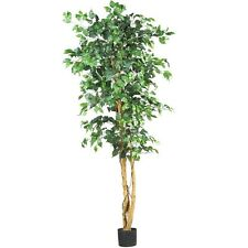 Ficus Tree Artificial Silk 6 Feet Entryway Office Decorations Potted Plant Room