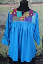Turquoise & Multi-Color Hand Embroidered Blouse Chiapas Mexico Hippie Cowgirl