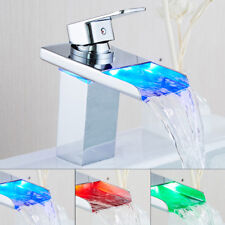 Waterfall LED RGB Single Lever Sink Basin Mixer Tap Spout Chrome Bathroom Faucet