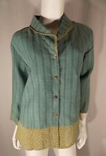 Citron Teal Blue Green Stripe Blouse Top Floral Trim Button Front Sz L Large EUC
