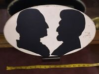 Antique Shadow Bust Presidents Sign