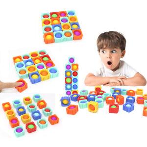 Big Cube Fidget Building Blocks Push Pop Bubble Autism Anxiety Releif Toy Puzzle
