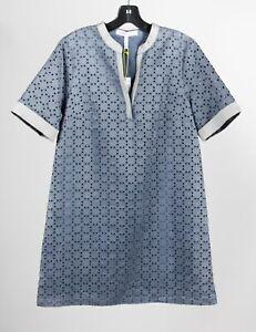 NWT BCBGeneration Gray Poly Women's Cutout Short Sleeve Midi Shift Dress Sz M