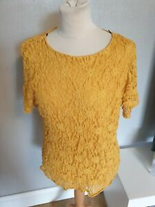 Forever By Michael Gold Ladies mustard Stretchy Lace Ruffle Top lined Size 18