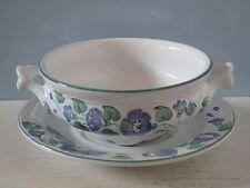 Herend Village Pottery Suppentasse + Unterteller blaue Blumen Hungary Ungarn
