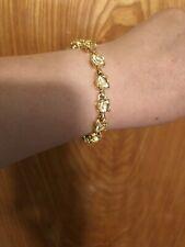 crystal link tennis bangle bracelet Vintage Swarovski gold tone clear citrine