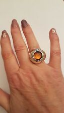 CICLON Handmade Amber Silver Statement Ring Size Large BNWOT NEW