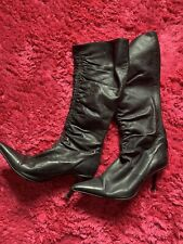 New Look Black Up To Knee High Stiletto Boots Leather Size 6.5