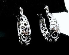 E022- Genuine 18K 18ct SOLID White Gold FILLIGREE Hoop Earrings Handmade