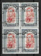 CYPRUS 1938-1951 Used £1 Block of 4 Stamps SG #163