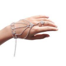 Women's Vintage Shine Rhinestone Hand Harness Bracelet Slave Chain Finger Ring