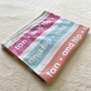 Tan And Flip Beach Towel 100% Cotton Colorful 56x33.5 Interior Decor House Sand