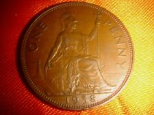 Great Britain, UK 1938 One Penny, King George VI, nice & decent circulated