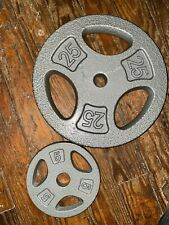 "CAP 25+5LB Cast Iron Barbell 1"" Standard Weight Plates- Single Plate Dumbbell ✅"
