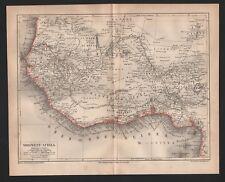 CARTE MAP 1878: Nord-Ouest-Afrique. Algérie Alger Tunis Maroc Africa