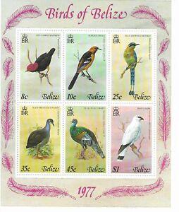 BELIZE 1977  BIRDS Mini Sheet  of 6 Mint NH