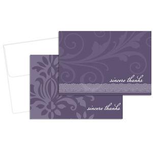 Amethyst Flourish Wedding Thank You Notes 24/pk with Envelopes