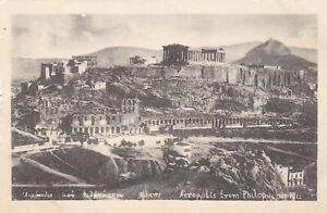 Acropolis from Philopoupos Hill.  Old postcard. Written/Unposted. Some wear