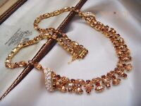 VINTAGE SIGNED AUSTRIA SCHOFFEL CHAMPAGNE MARQUISE MULTI TONE CRYSTAL NECKLACE