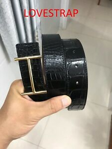 BLACK  GENUINE ALLIGATOR,CROCODILE S BALLY LEATHER SKIN BELT 3.2 WIDTH + Buckle