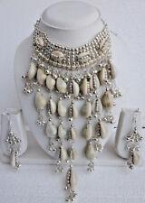 Statement Shell Necklace Choker Earrings Boho Chic Gypsy Kuchi Fashion Jewelry