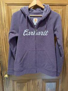 Carhartt Women's XS Full Zip Fleece Hoodie Jacket EUC Cursive Spellout Lavender