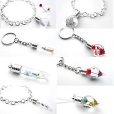 5 Glass MIX Wish Bottle Perfume Vial Necklace Pendant Silver Cap Empty Charms