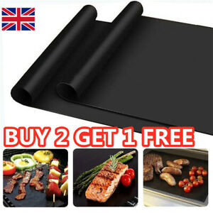 BBQ Grill Mat Non-Stick Oven Liners Cooking Barbecue Baking Sheet Tray UK