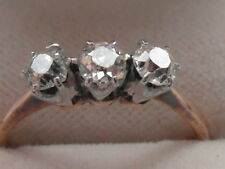 Q157 Ladies 18ct gold 3/4 carat old brilliant round Diamond trilogy ring size N