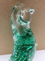 Hand Blown Art Glass Penguin Statue Figurine Bullicante Controlled Bubbles Aqua