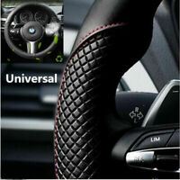 Black+Red 38CM Microfiber Leather Car Steering Wheel Cover Anti-slip Protector