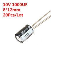 20pcs 10V 1000uF 1000 UF Aluminum Electrolytic Capacitor Radial 8*12 mm